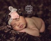 Sweet Lil Miss- Brown and Pink Headband, Damask Ribbon, Baby Headband, Girls Headband, Newborn Photo Prop
