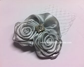 Silver Bells - Handmade Silver Rosette Hair Clip for Wedding with Rhinestone and Birdcage Veil, Flower Girls or Bridesmaids