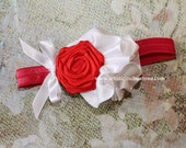 Love at First Sight - Red Rosette, White Ruffle Headband for Girls, Toddlers or Women, Photography Prop for Newborns