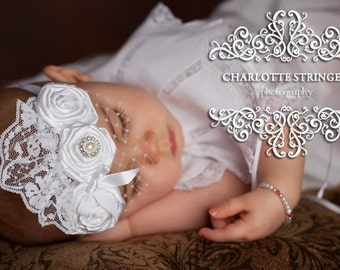 Eternity - Trio of Rosettes Headband, White Couture Headband, Suitable for all ages