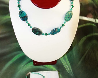 Azurite Necklace Bracelet and Earring Set - Stunning - Handmade and Seriously Genuine with Swarovski and Bali Silver