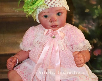 OOAK Hand Painted Reborn Adrie Stoete Doll - Hazel Green Eyes, Brown Mohair, Realistic Doll, Collectible