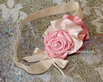 In Love in Paris - Handmade Pink Rosette with Ivory Ruffles Headband - Photo Prop for Newborns, Girls or Toddlers and Adults