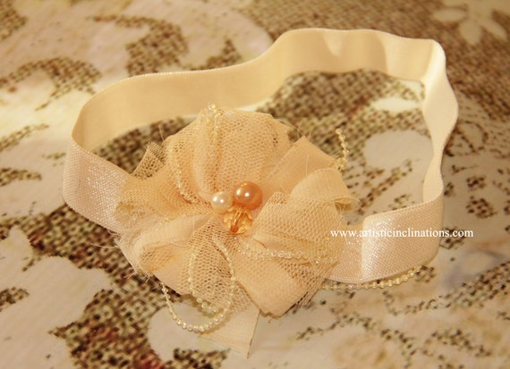 Newbon Photo Prop Heaband, Ivory Flower, Girls Headband, or Hair Clip, Baby Headband