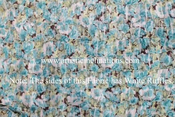 2 Yards of Aqua Blue Floral Ruffle fabric - Newborn Baby Photography Prop, Beanbag Prop, Beanbag Blanket, Cascading Fabric