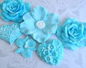 Spring Flowers In Blue Soap Set  No. 2 - Beautiful Gift Set