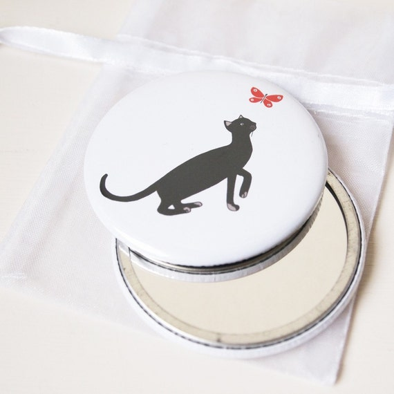 Cat and Butterfly - Pocket Mirror