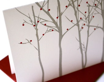Silhouette Forest - Red Berries - Card set of 8