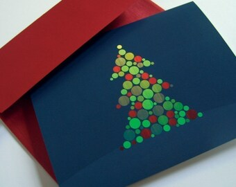 Christmas Cards / Holiday Cards - Woodgrain Circle Christmas Trees - card set of 8 (4 designs)