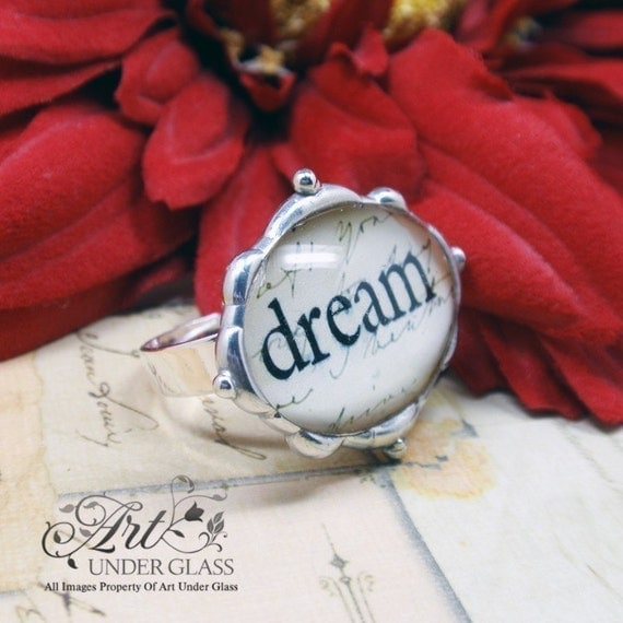 Oval Glass Fancy Bumpy Silver Soldered Adjustable Ring - Dream