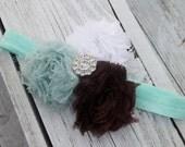 Brown, Light Turquoise and White Shabby Chiffon Flower Headband