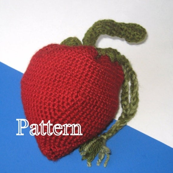 Crochet Wristlet Purse Pattern : PDF Pattern Crocheted Strawberry Wristlet by MayRaeCrafts on Etsy