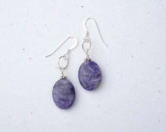 Charoite Sterling Silver Dangle Earrings