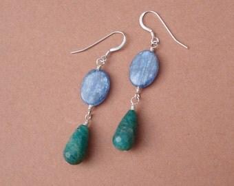 Last Pair - Amazonite and Kyanite Sterling Silver Earrings