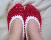 Red Crochet Slippers Plain