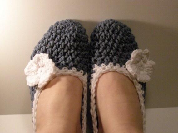 Crochet Slippers  Light Blue