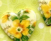 Two Vintage Glass Hearts with Gorgeous Yellow Flower Design (8-18F-2)