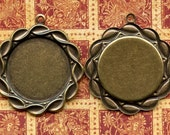 Four Brass Settings for 25mm Cabochons (24-2-4)