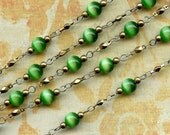Vintage Chain with 6mm Green Beads x 3 Feet