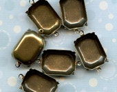 Six Brass Settings - 18x13mm Octagon with Two Loops (6-4-6)