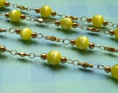 Vintage Chain with 6mm Yellow Luster Glass Beads - 3ft.