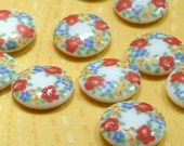 Vintage Glass Cabochons - Japanese 13mm Flower Cabs (10-32-6)