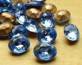 12 Vintage Glass Jewels 10x8mm Light Sapphire (46-5B-12)