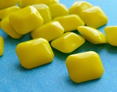 12 Vintage Glass Jewels - 10x8mm Yellow Opaque Octagons (8-40-12)