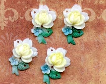 Plastic Cabochons - Vintage Japanese Flower Charms (23-15B-1)