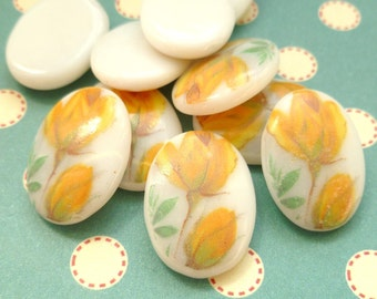 Vintage Glass Cabochons - 18x13mm Yellow Rosebud Cabs (1-5B-4)