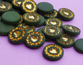 Vintage Cabochons - 12 Adorable Green and Gold 9mm Glass Heart Cabs (53-4B-12)