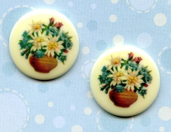 Two Cute Vintage German 25mm Floral Acrylic Cabs (10-14B-2)