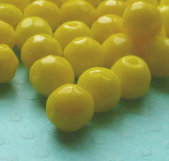 24 Vintage Beads -  6mm Bright Yellow Glass Beads (48-16B-24)