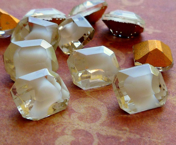 Vintage Glass Jewels - 10x8mm White Givre Octagons (45-16-12)