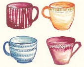 Six Tea Cups, Print (A4)