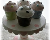 Cupcake Trinket Box Set of 4 With Tall Cake Plate Stand
