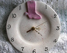 Cowgirl Ceramic Clock or For A Cowboy in Blue Colors Western Theme Rustic Home Decor Boot Pink
