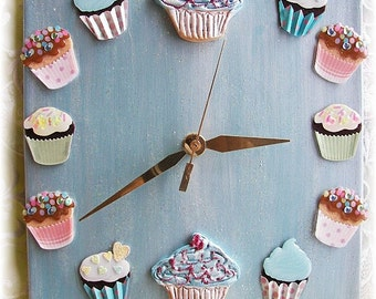 Cupcake Clock in Pearl Blue with cupcake stickers