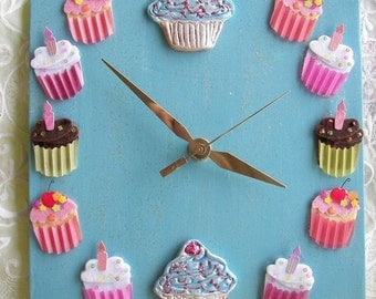 Cupcake Ceramic Clock  Blue with Chocolate and Pinks