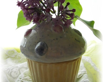 Cupcake Ceramic Bud Vase Pencil Holder Lavender Colors