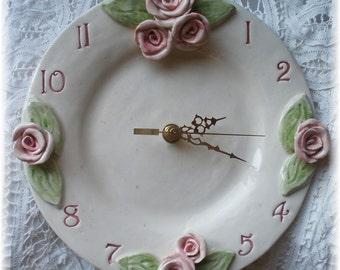 Pink Rose Clock  Ceramic