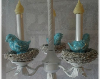 Chandelier with Birds on silver glitter Nests