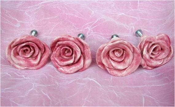 Rose Flower Knobs Cabinet Drawer Pulls Set of Four Dresser Knobs Unique Cabinet knobs Furniture Hardware Kitchen Nursery Home decor in Rose