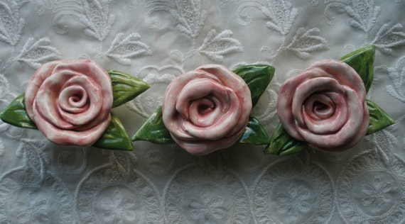 Ceramic Rose Magnets Pink with Leaves   Set of 3
