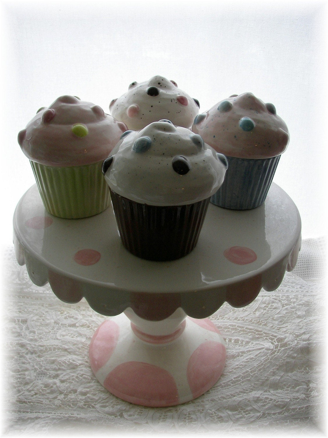 Cupcake Trinket Boxes And Cake Stand