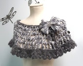 Crocheted Grey and White Wrap, Capelet - Romantic Lace Scarflette with yarn bow - ANGEL