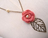 RESERVED - Crochet Flower Necklace with Brass Chain and Leaf - Salmon Pink Coral Rose