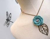 RESERVED - Crochet Flower Necklace with Brass Chain and Leaf - Mint Green Rose with Light Pink Pearls