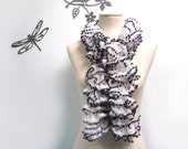 Ruffle Scarf Hand Knitted - White and Grey - Bohemian Scarflette, Romantic Neckwarmer