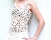 Crochet Cream White Vest - Lace Tank Top with Fringes - SAND TRAP
